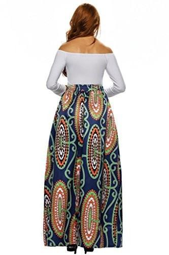 Annflat Women's African Floral Print Maxi Skirts A Line Long Skirts With Pocket(S-2XL)