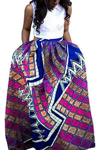 Annflat Women's African Floral Print Maxi Skirts A Line Long Skirts With Pocket(S-2XL) - Small / Multi2 - Ineffable Shop