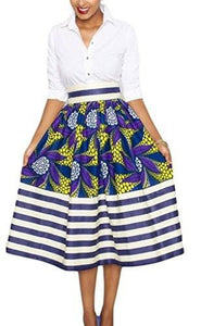 Annflat Women's African Print Knee Length Flare Skirts With Pockets - Small / Navy - Ineffable Shop