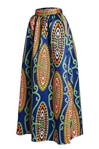 Annflat Women's African Floral Print Maxi Skirts A Line Long Skirts With Pocket(S-2XL) - Small / Multi1 - Ineffable Shop