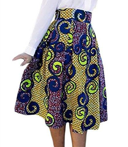 Lovezesent Women's African Print High Waist A-Line Pleated Midi Skirt - Small / 007 - Ineffable Shop