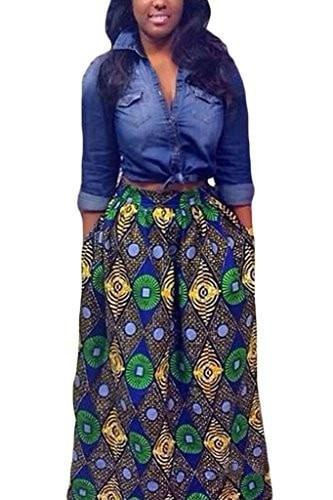 Annflat Women's African Floral Print Maxi Skirts A Line Long Skirts With Pocket(S-2XL) - Small / Multi4 - Ineffable Shop