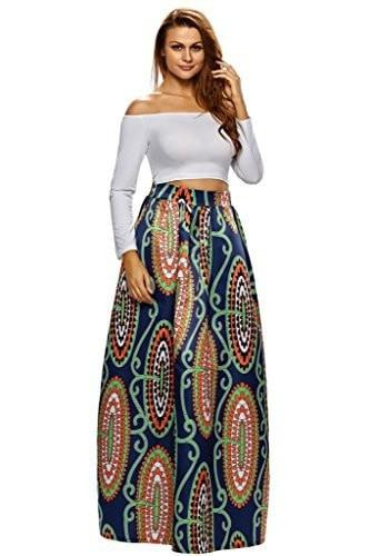 Annflat Women's African Floral Print Maxi Skirts A Line Long Skirts With Pocket(S-2XL) - - Ineffable Shop