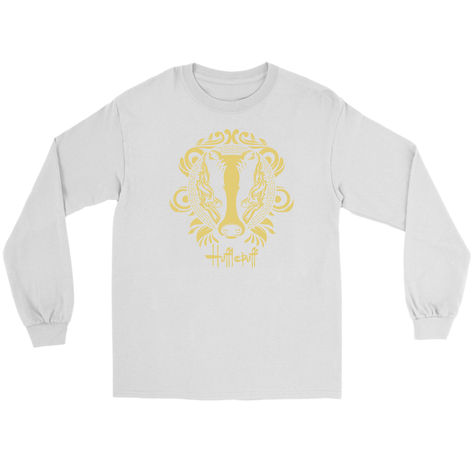 Harry Potter Vintage Hufflepuff Gildan Long Sleeve Tee - Gildan Long Sleeve Tee / White / S - Ineffable Shop