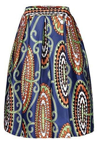Annflat Women's African Print Knee Length Flare Skirts With Pockets - Small / Multi1 - Ineffable Shop
