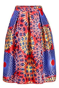 Annflat Women's African Print Knee Length Flare Skirts With Pockets - - Ineffable Shop