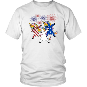 Dabbing unicorns 4th of July - District Unisex Shirt / White / S - Ineffable Shop