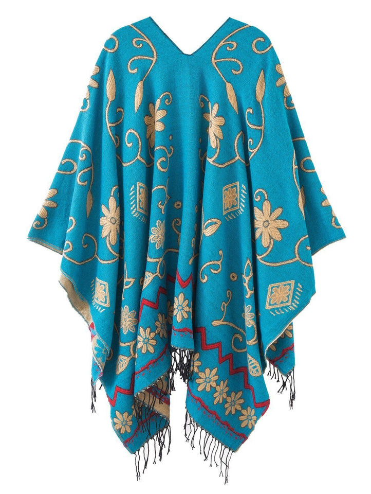 Women's Fashionable Retro Style Vintage Pattern Tassel Poncho Shawl Cape - - Ineffable Shop