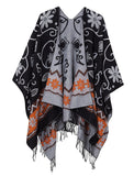 Women's Fashionable Retro Style Vintage Pattern Tassel Poncho Shawl Cape - Black 2# - Ineffable Shop