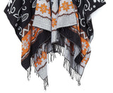 Women's Fashionable Retro Style Vintage Pattern Tassel Poncho Shawl Cape - Ineffable Shop