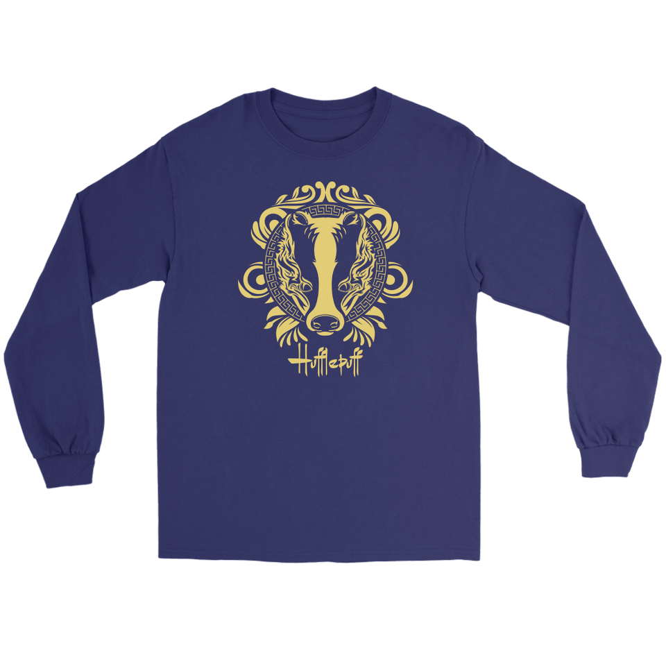 Harry Potter Vintage Hufflepuff Gildan Long Sleeve Tee - Gildan Long Sleeve Tee / Purple / S - Ineffable Shop