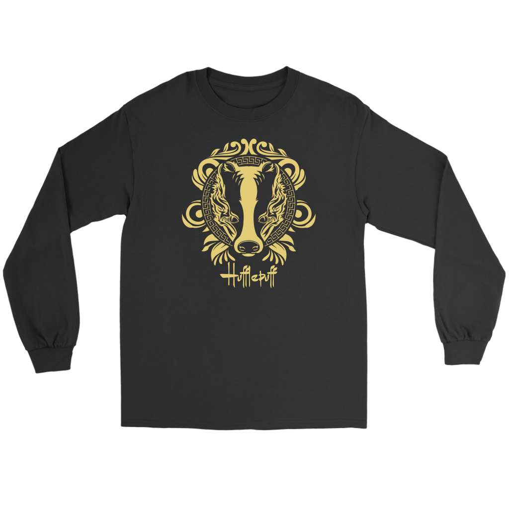 Harry Potter Vintage Hufflepuff Gildan Long Sleeve Tee - Gildan Long Sleeve Tee / Black / S - Ineffable Shop