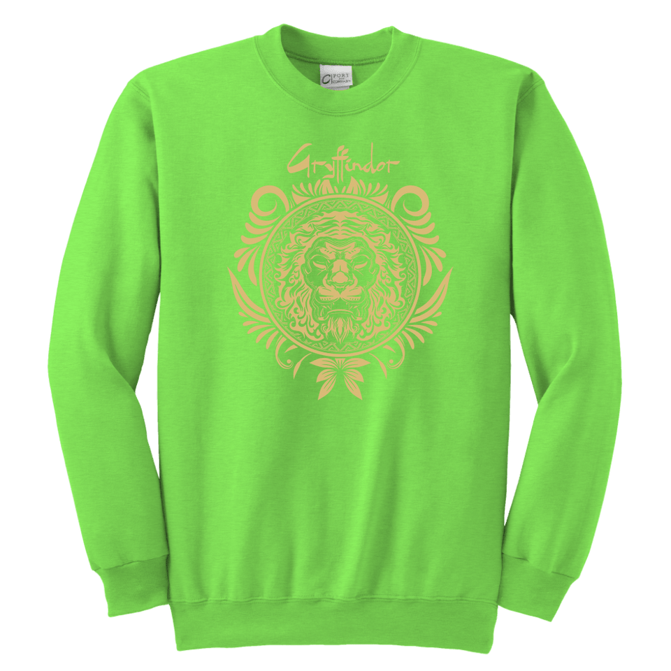 Harry Potter Vintage Gryffindor Badge Youth Crewneck Sweatshirt - Youth Crewneck Sweatshirt / Neon Green / XS - Ineffable Shop