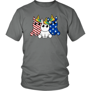 Cute Unicorns 4th of July - District Unisex Shirt / Grey / S - Ineffable Shop