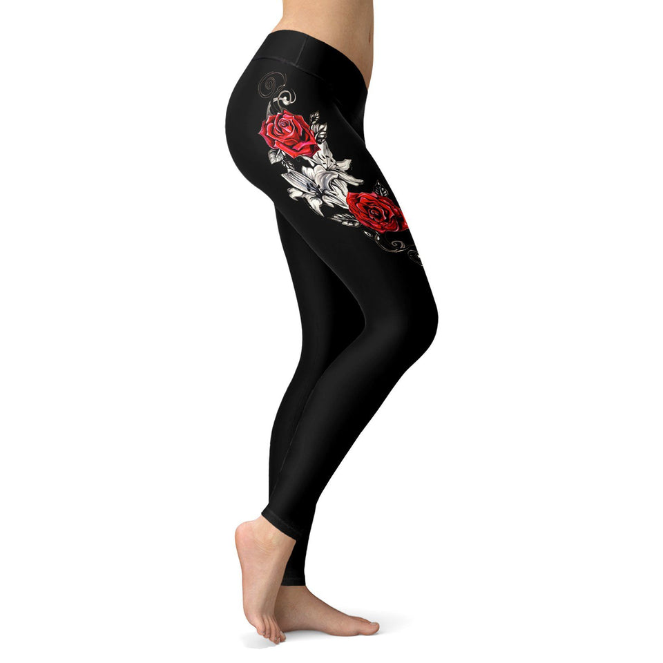 Black Rose Leggings - - Ineffable Shop