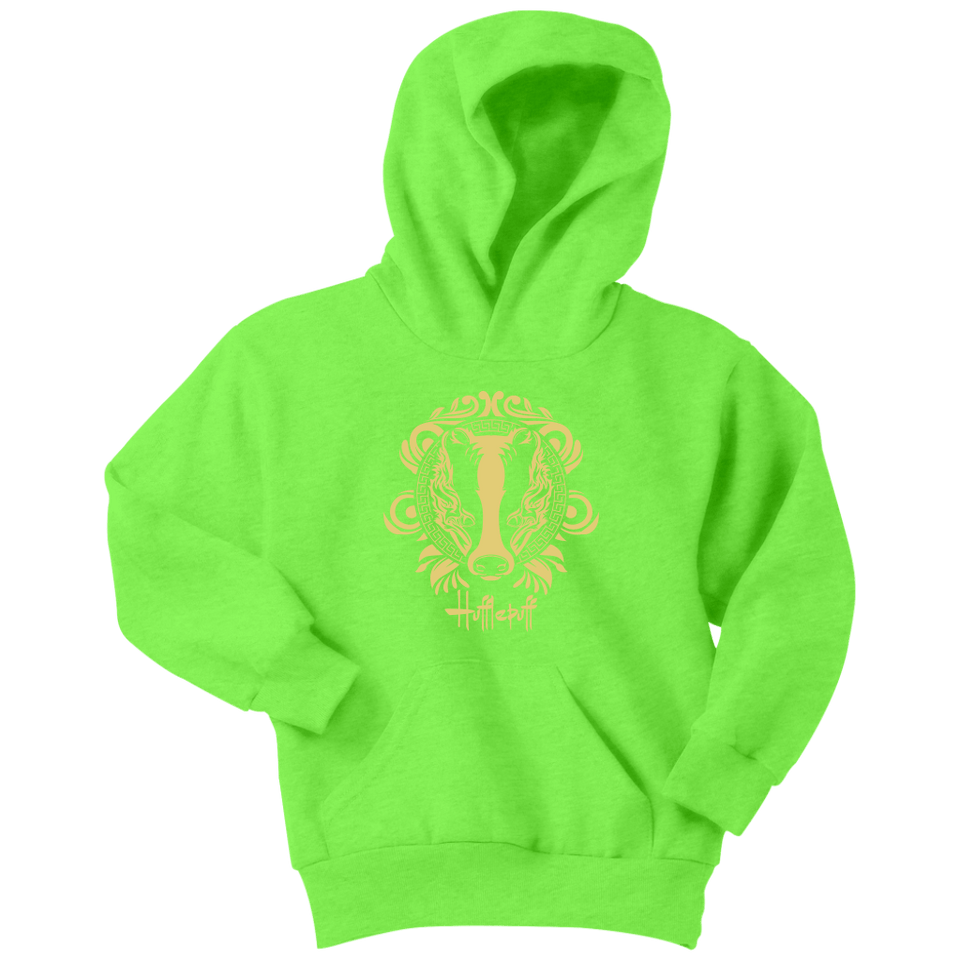Harry Potter Vintage Hufflepuff Youth Hoodie - Youth Hoodie / Neon Green / XS - Ineffable Shop