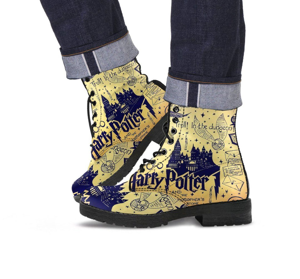 Harry Potter Hogwarts School Leather Boots HP0137 - Men's Leather Boots - Black - Harry Potter 2 / US5 (EU38) - Ineffable Shop