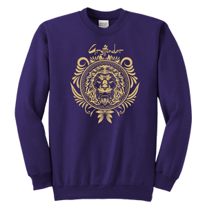 Harry Potter Vintage Gryffindor Badge Youth Crewneck Sweatshirt - Youth Crewneck Sweatshirt / Purple / XS - Ineffable Shop