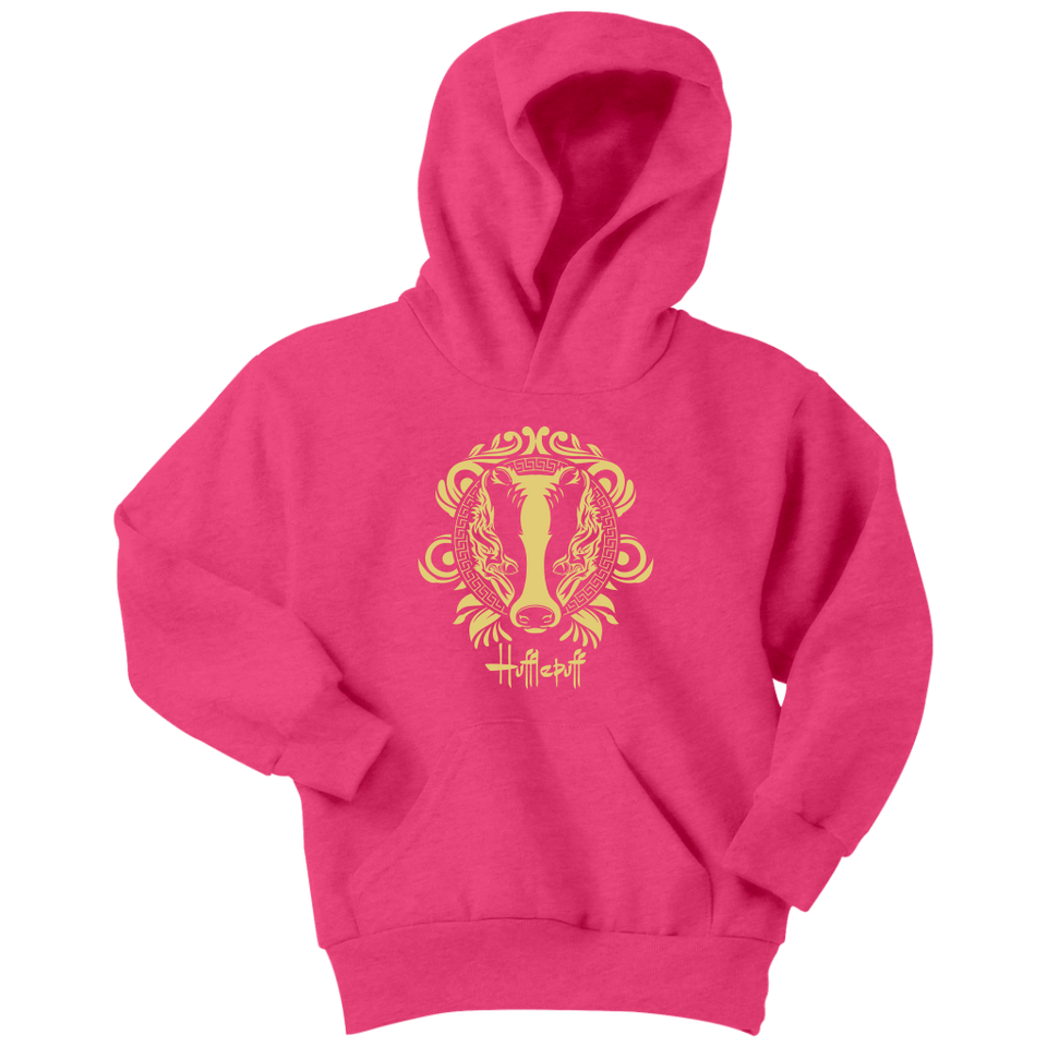 Harry Potter Vintage Hufflepuff Youth Hoodie - Youth Hoodie / Neon Pink / XS - Ineffable Shop