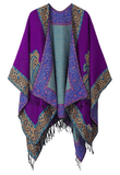 Women's Fashionable Retro Style Vintage Pattern Tassel Poncho Shawl Cape - Series 2 Purple - Ineffable Shop