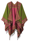 Women's Fashionable Retro Style Vintage Pattern Tassel Poncho Shawl Cape - Series 2-green - Ineffable Shop