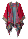 Women's Fashionable Retro Style Vintage Pattern Tassel Poncho Shawl Cape - Series 2-red - Ineffable Shop