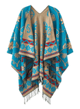 Women's Fashionable Retro Style Vintage Pattern Tassel Poncho Shawl Cape - Blue - Ineffable Shop