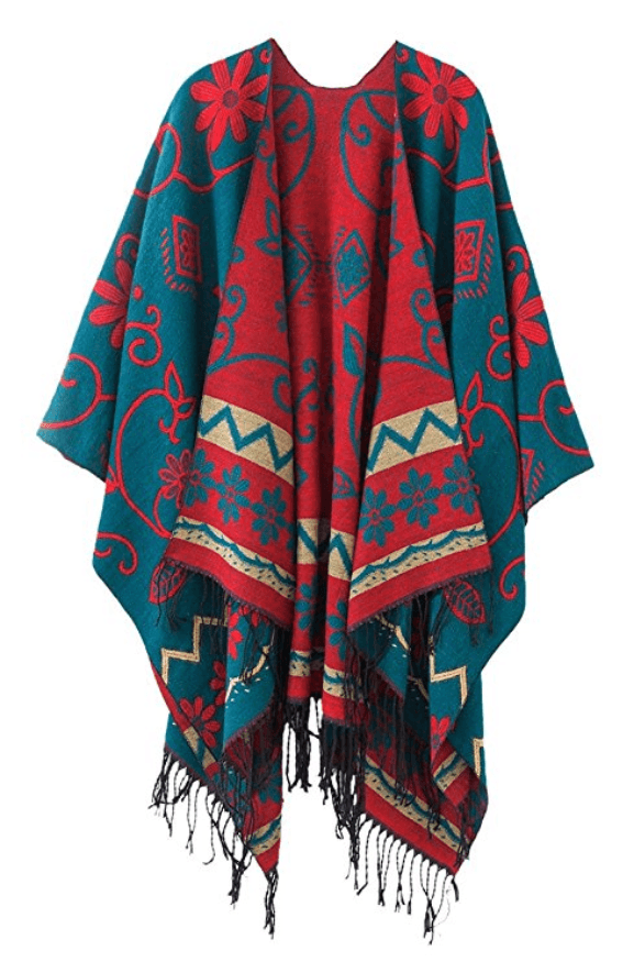 Women's Fashionable Retro Style Vintage Pattern Tassel Poncho Shawl Cape - Dark Green - Ineffable Shop