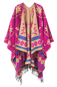 Women's Fashionable Retro Style Vintage Pattern Tassel Poncho Shawl Cape - Pink - Ineffable Shop