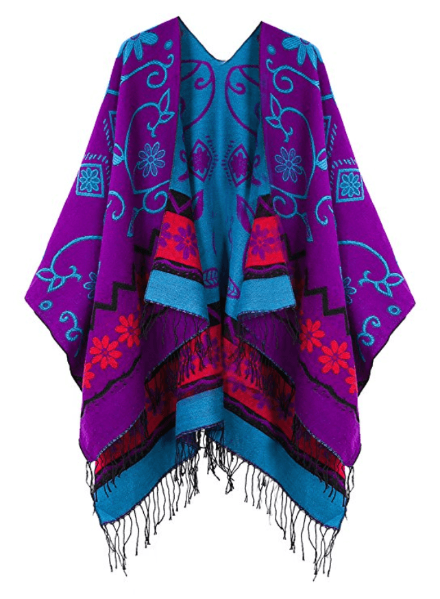 Women's Fashionable Retro Style Vintage Pattern Tassel Poncho Shawl Cape - Purple - Ineffable Shop