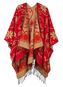 Women's Fashionable Retro Style Vintage Pattern Tassel Poncho Shawl Cape - Red - Ineffable Shop