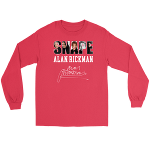 Harry Potter Alan Rickman Gildan Long Sleeve Tee - Gildan Long Sleeve Tee / Red / S - Ineffable Shop