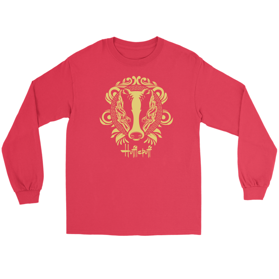 Harry Potter Vintage Hufflepuff Gildan Long Sleeve Tee - Gildan Long Sleeve Tee / Red / S - Ineffable Shop