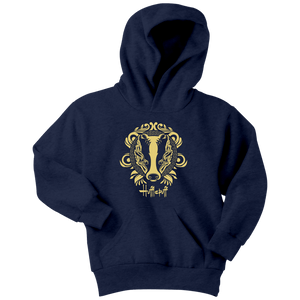 Harry Potter Vintage Hufflepuff Youth Hoodie - Youth Hoodie / Navy / XS - Ineffable Shop