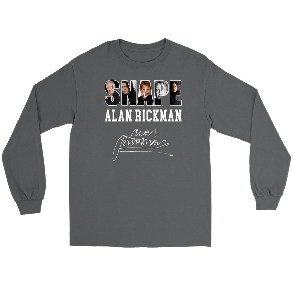 Harry Potter Alan Rickman Gildan Long Sleeve Tee - Gildan Long Sleeve Tee / Charcoal / S - Ineffable Shop