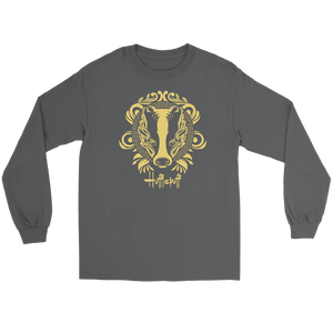 Harry Potter Vintage Hufflepuff Gildan Long Sleeve Tee - Gildan Long Sleeve Tee / Charcoal / S - Ineffable Shop