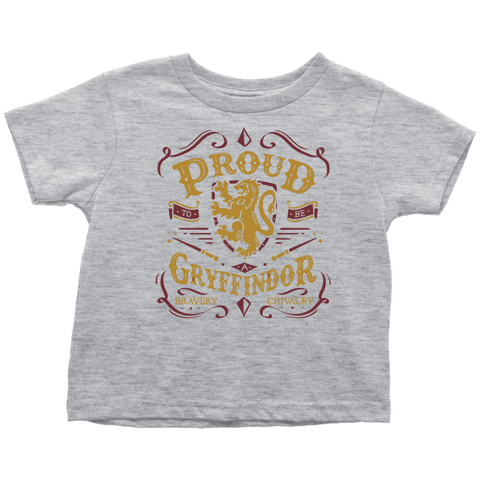 Gryffindor Pride Toddler T-Shirt - Toddler T-Shirt / Heather Grey / 2T - Ineffable Shop