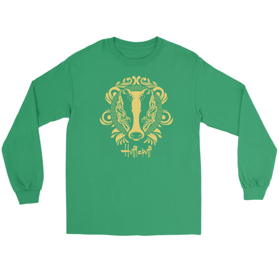 Harry Potter Vintage Hufflepuff Gildan Long Sleeve Tee - Gildan Long Sleeve Tee / Kelly Green / S - Ineffable Shop