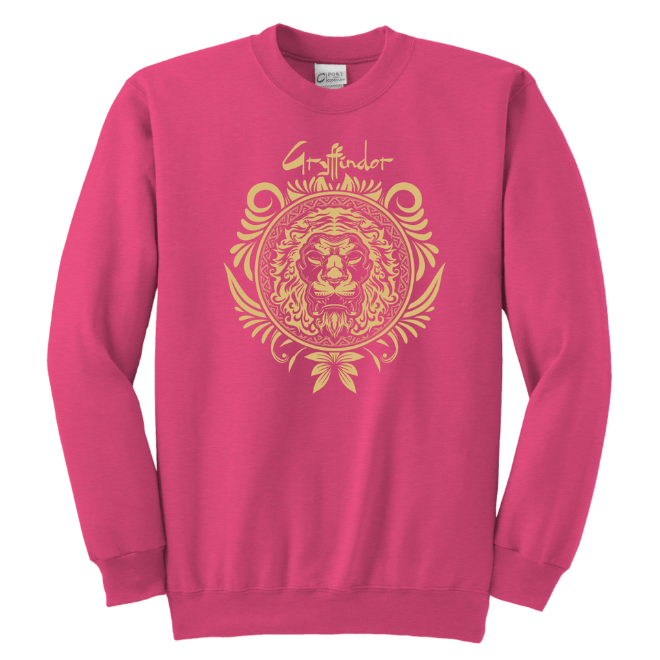 Harry Potter Vintage Gryffindor Badge Youth Crewneck Sweatshirt - Youth Crewneck Sweatshirt / Neon Pink / XS - Ineffable Shop