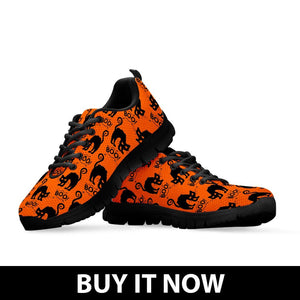 Halloween Black Cat Kid's Running Shoes HLW022 - - Ineffable Shop