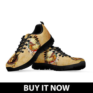 Native American And Wolf Women's Running Shoes NT106 - Ineffable Shop