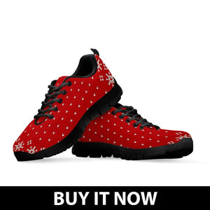 Christmas Red Pattern Kid's Running Shoes - - Ineffable Shop