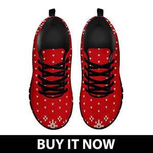 Christmas Red Pattern Women's Running Shoes - - Ineffable Shop