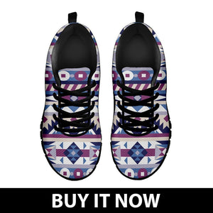 Native American Purple Pattern Kid's Sneakers NT083 - - Ineffable Shop
