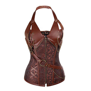 Steampunk Faux Leather Corset - Brown / XL - Ineffable Shop