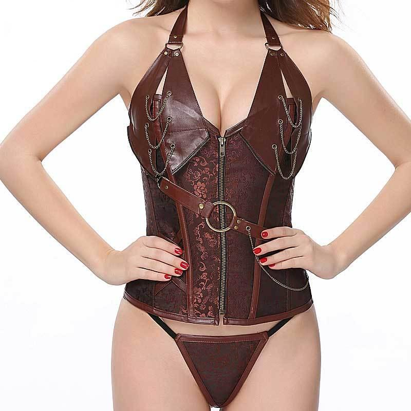 Steampunk Faux Leather Corset - Ineffable Shop