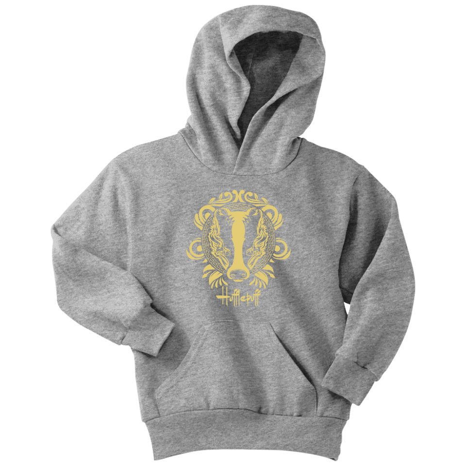 Harry Potter Vintage Hufflepuff Youth Hoodie - Youth Hoodie / Athletic Heather / XS - Ineffable Shop