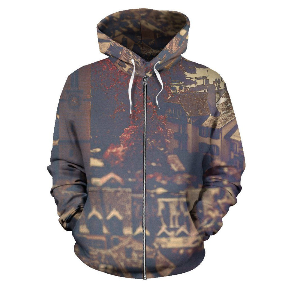 Zip-Up Hoodie Vintage Cityscape - Men's Zip-Up Hoodie / S - Ineffable Shop