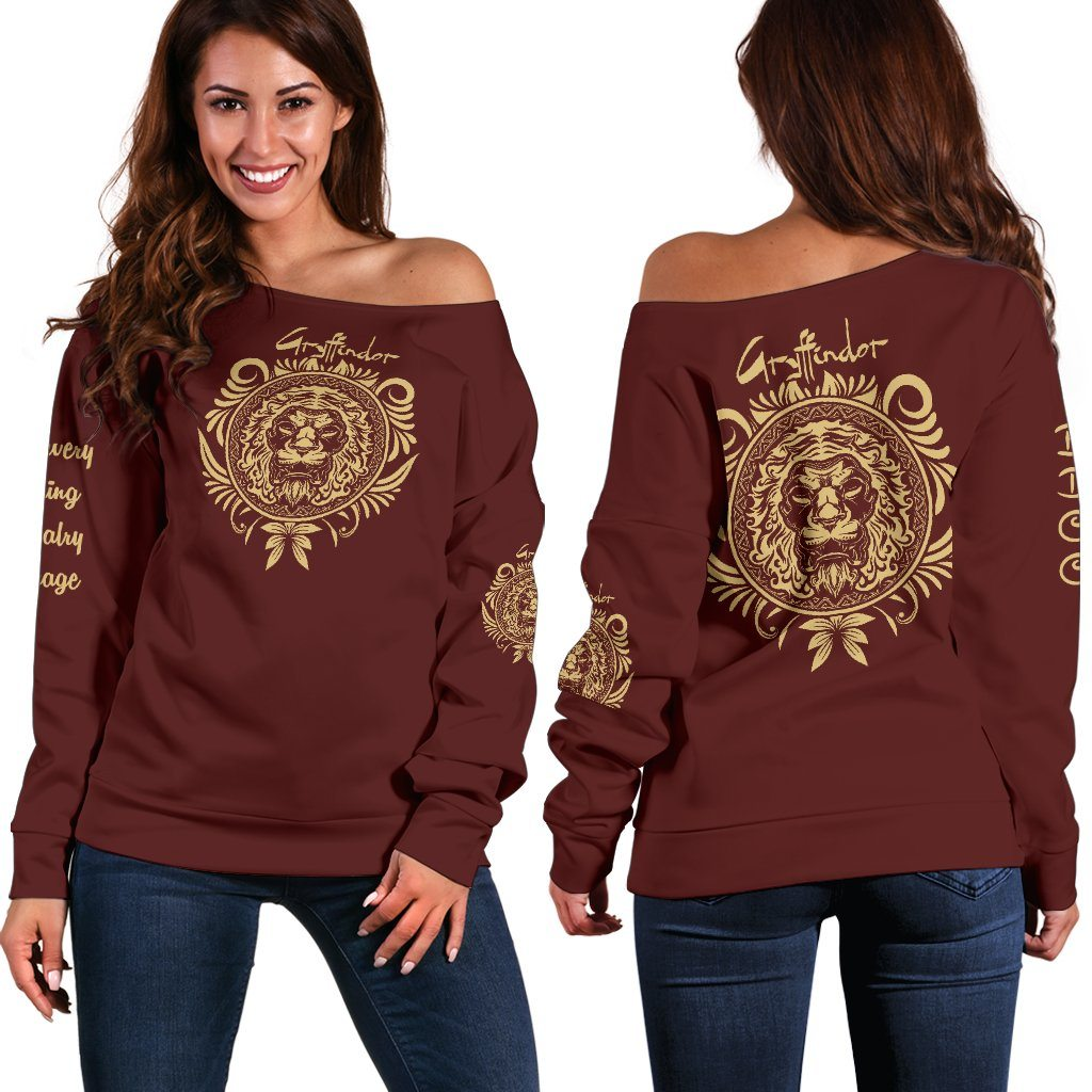 Gryffindor Women's Off Shoulder Sweater - - Ineffable Shop