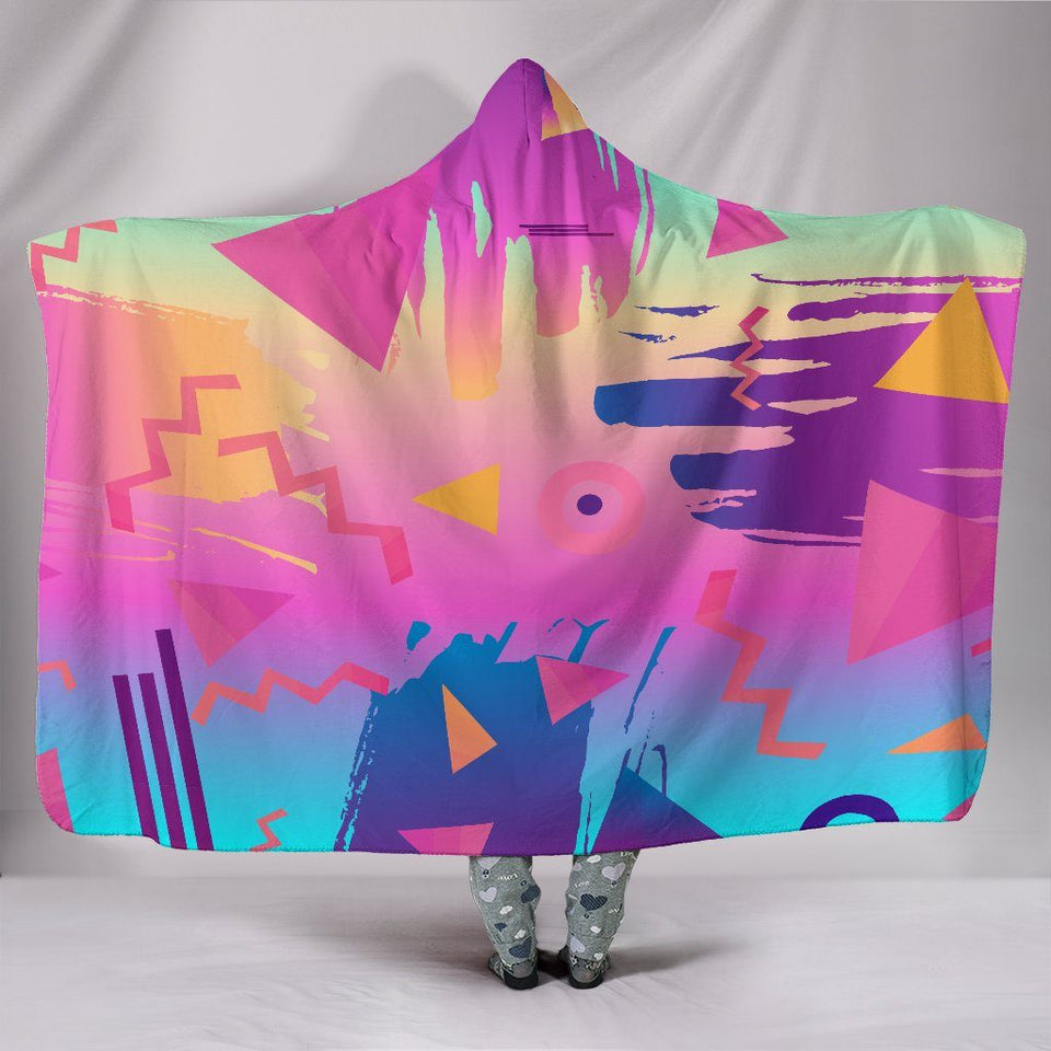 "Retro Vintage 80's & 90's Fashion Hooded Blanket - Hooded Blanket / Youth 60""x45"" - Ineffable Shop"